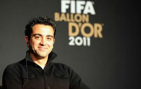 Xavi Hernández smiling at FIFA Balon d'Or 2011-2012 gala and ceremony