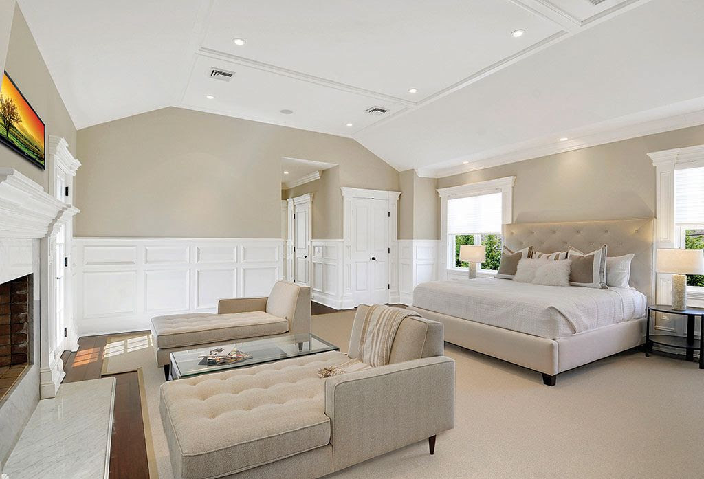 Modern Master Bedroom with Hardwood floors, Carpet, Wainscotting, Pottery Barn Lorraine Tufted Tall Bed & Headboard