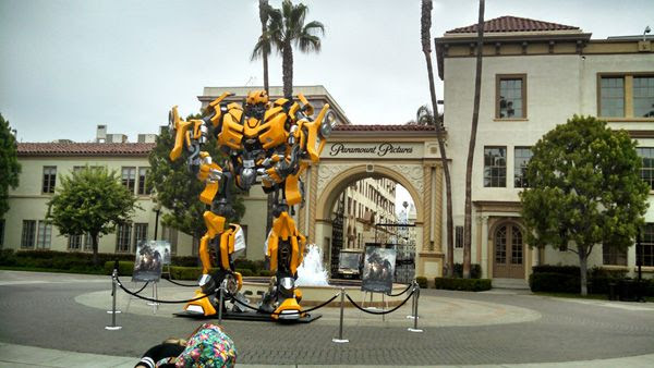 The full-scale Bumblebee prop (from the 2007 TRANSFORMERS movie) on display near the Bronson Gate at Paramount Pictures in Hollywood, on June 30, 2014.