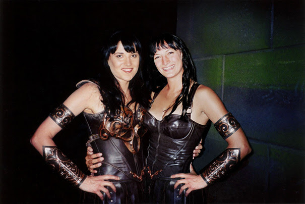 Lucy Lawless And Stunt Double Zoe Bell On The Set Of Xena The Warrior Princess