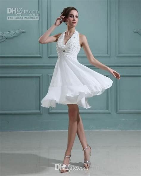 2014 Summer Short Beach Wedding Dresses Empire Waist