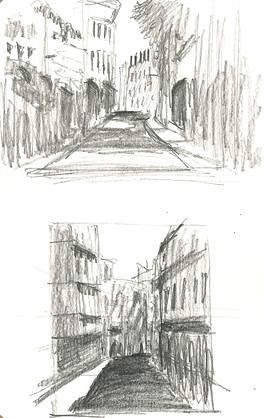 Thumbnail value sketches, Lisbon, Portugal