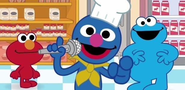 """Elmo, Grover e Come Come, bonecos de """"Vila Sésamo"""", na animação """"Desafio do Elmo"""""""