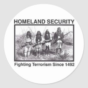 Native American Homeland Security T-shirts Classic Round Sticker