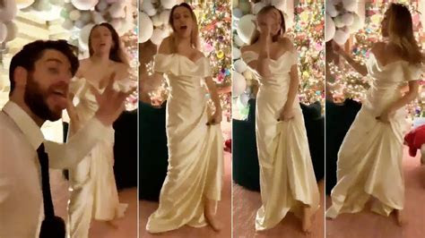 Miley Cyrus dances to 'Uptown Funk' in gorgeous wedding