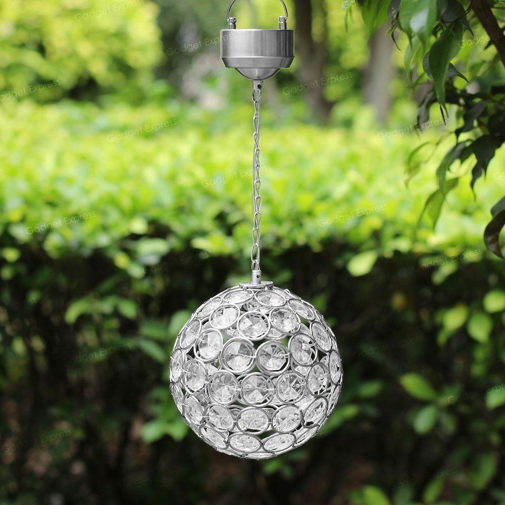 Solar Powered LED Crystal Ball Garden Hanging Light Lantern Decoration Outdoor  eBay