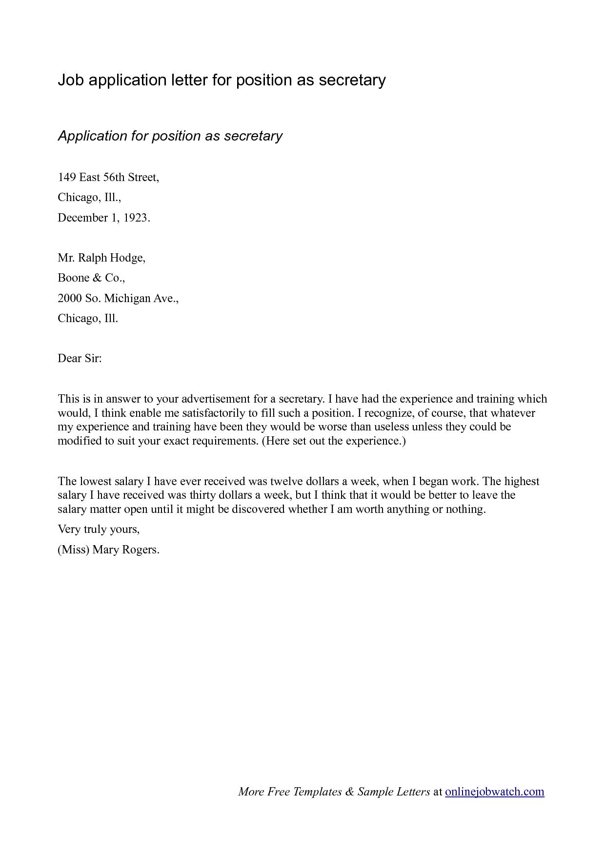 Job Application Letter Of Interest Resume Template Job