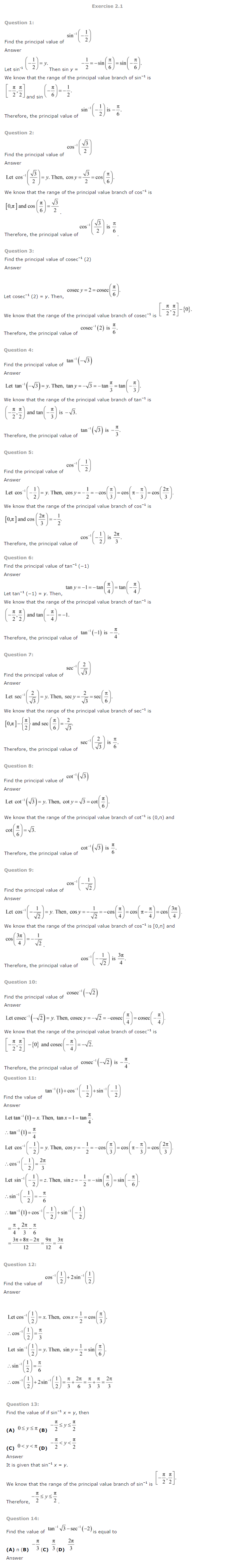 NCERT Solutions for Class 12 Maths Chapter 2 Inverse Trigonometric Functions ex 2.1