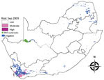 Thumbnail of Risk map for probability of Rift Valley fever (RVF) outbreaks in different areas of South Africa. Map for September 2009 indicates irrigation areas and subsequent outbreaks during October–December 2009.