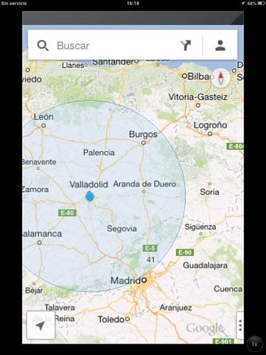 Posición GPS de un vuelo Bilbao-Madrid, Loiu-Barajas