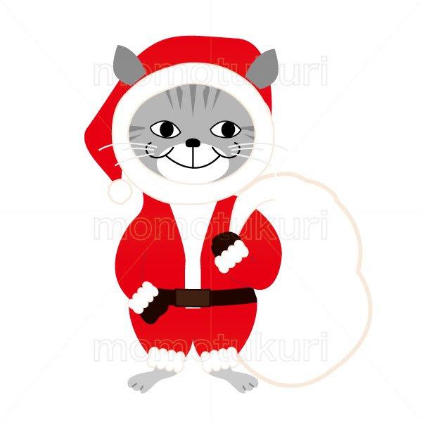 99円から390円素材sozaiクリスマス 猫のサンタクロースのイラスト