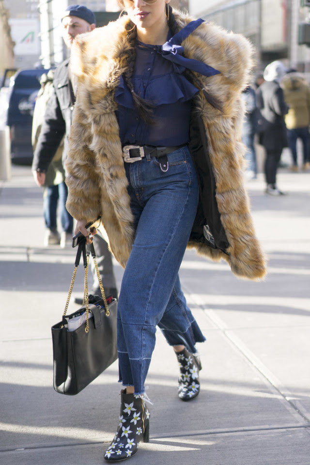 cropped flares-western jeans-frayed hem jeans-printed booties--fur coat-victorian blouse-nyfw street style-ps