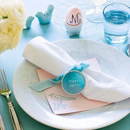 Blue-and-Pink Easter Table Setting
