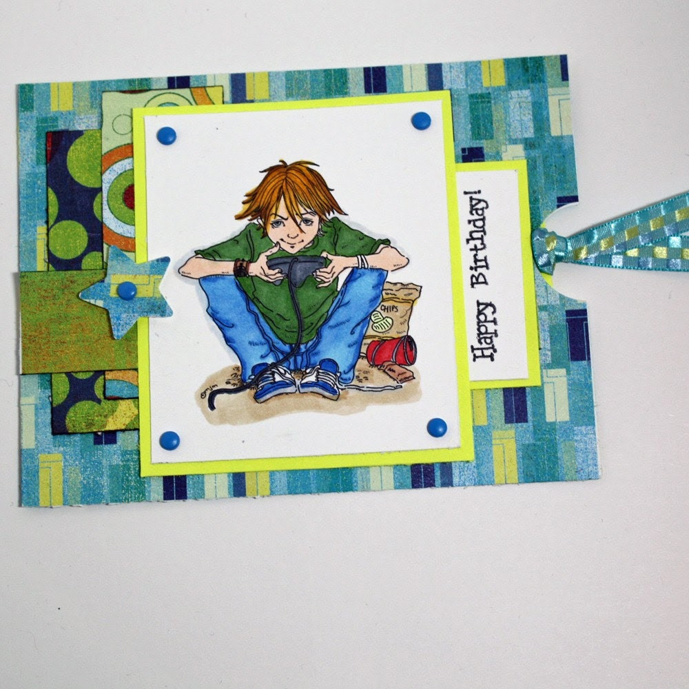 Handmade birthday gift card holder gamer boy