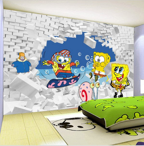 Spongebob Cartoon Wallpaper For Kids Bedroom Sponge Bob Wall Mural Beddingandbeyond Club
