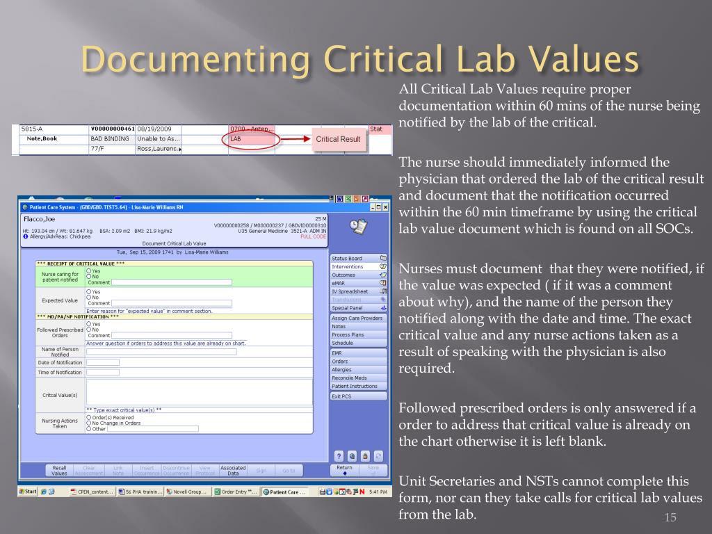 documenting critical lab values l