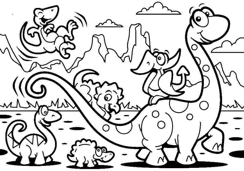 Preschool Dinosaur Coloring Pages Simple Coloring And Drawing