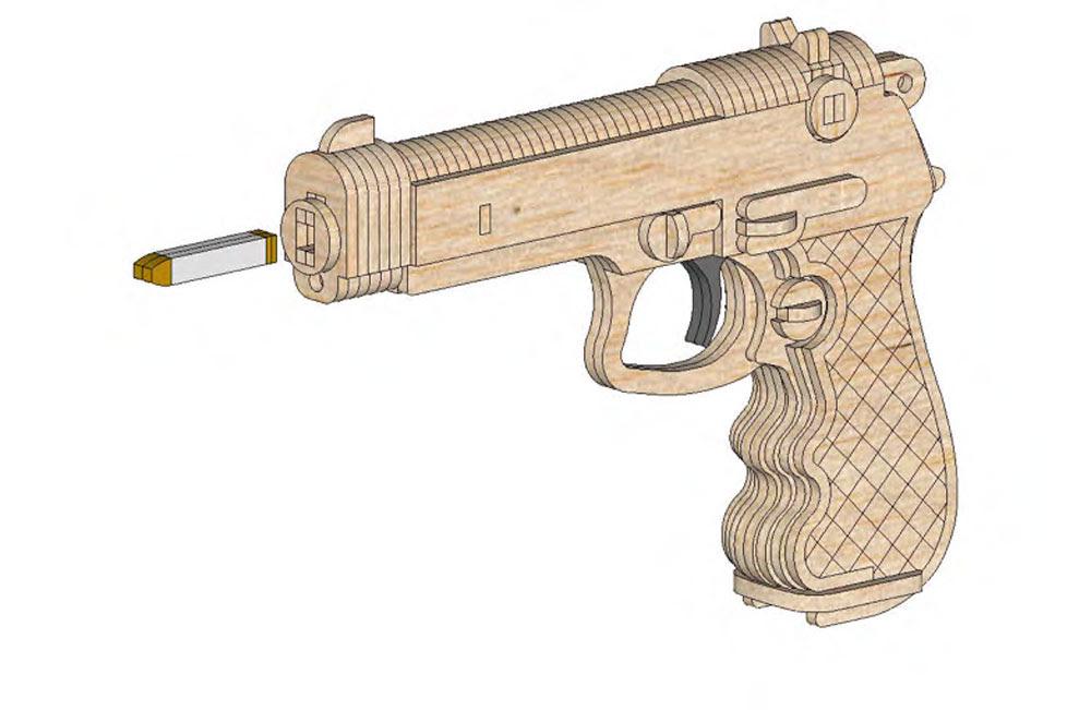 Beretta Hand Gun Pistol (Rubberband powered Gun) Discounts Applied to