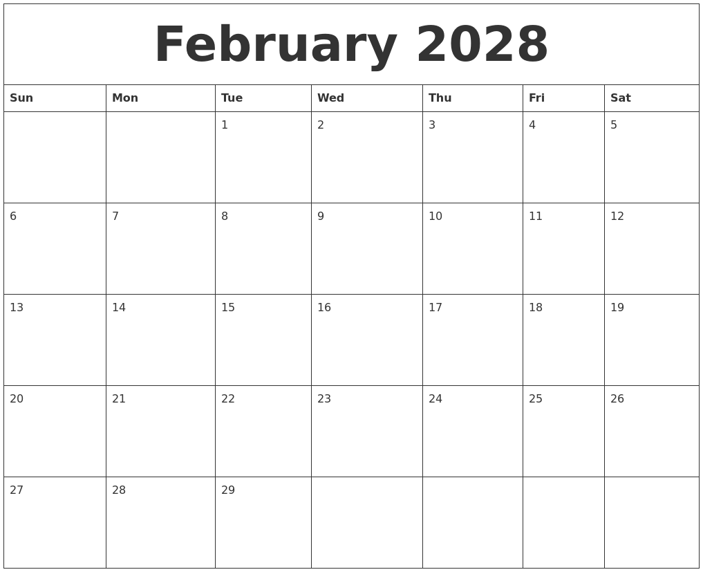 february 2028 word calendar