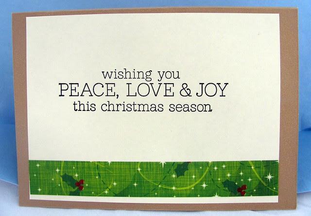 Inside of Christmas Holly card.