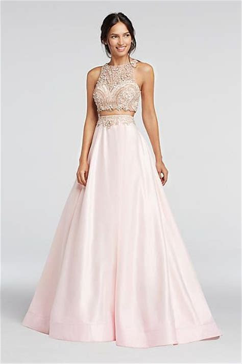 Two Piece Beaded Satin Prom Crop Top and Skirt 1461