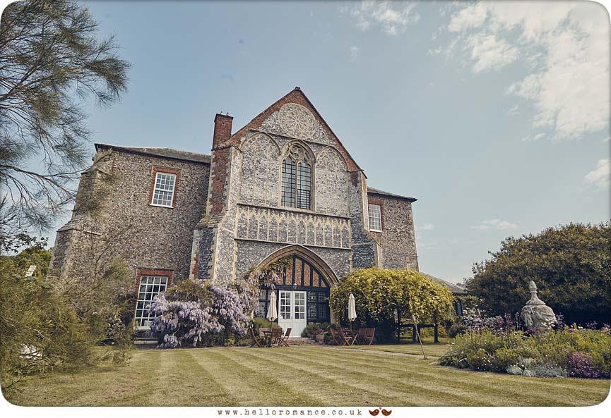 Exterior of Butley Priory wedding venue 2016 - www.helloromance.co.uk