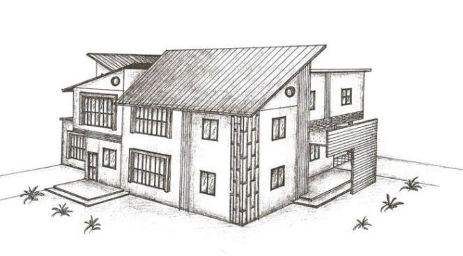 Contoh Gambar 3 Dimensi: Gambar Rumah 3 Dimensi Hitam Putih