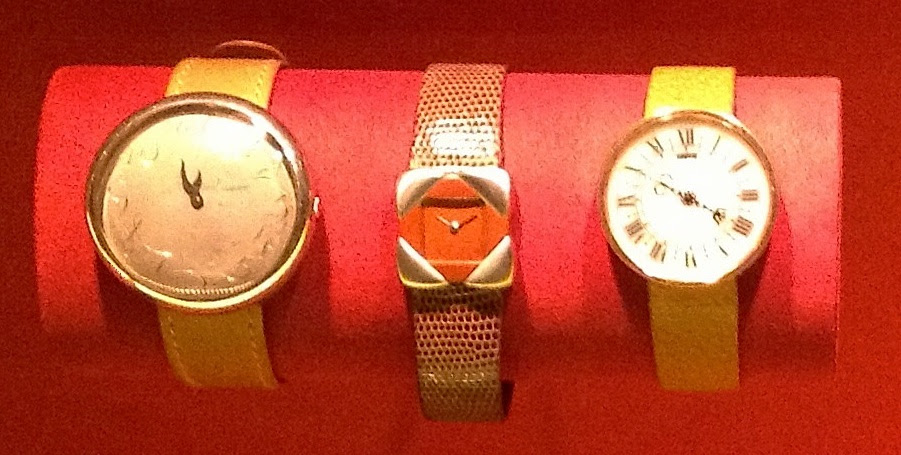 Watches by JAR: Sienna watch of marble and gold, 1987; watch, of boxwood and platinum, 1980; Pebble watch of platinum, 1998 (private collections/photo by Cathleen McCarthy)