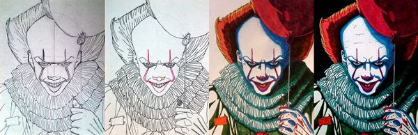 Work-in-progress photos of my original Pennywise drawing.