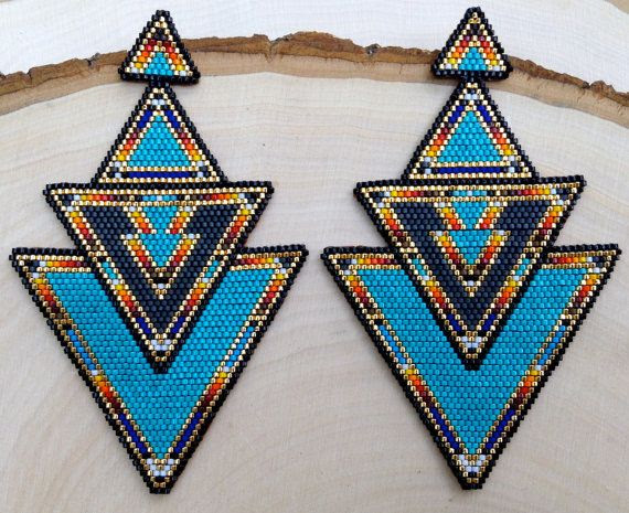 ONEOFAKIND Turquoise Native Statement Earrings by wildmintjewelry, $345.00