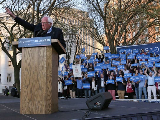 Bernie Sanders addresses supporters during a campaign