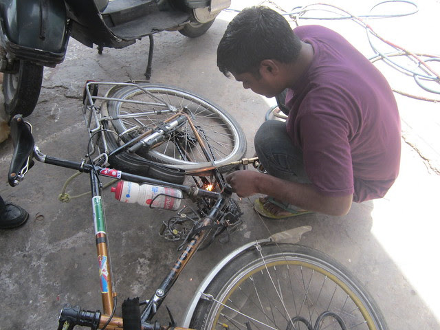 Vishwal welding my bike in Nahan