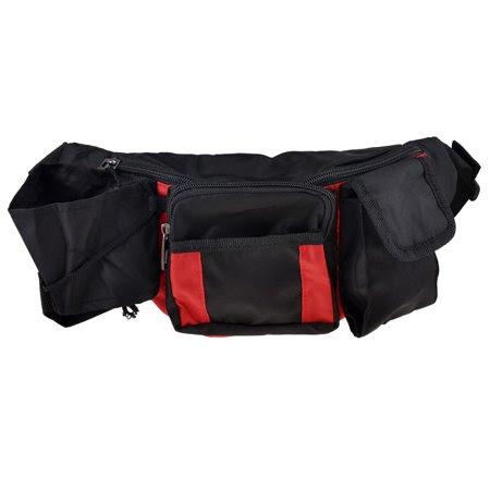 Men's Women's Travel Zippered Nylon Pockets Waist Bag Fanny Pack Pouch Black Red