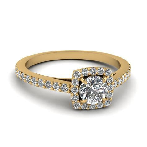 0.50 Carat Diamond Petite Halo Engagement Ring In 14K