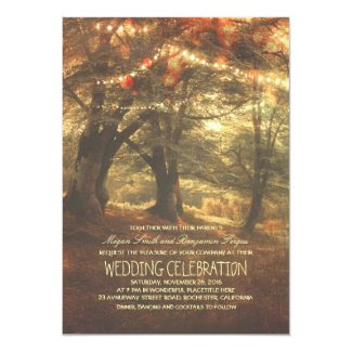 Rustic Woodland String Lights Trees Wedding