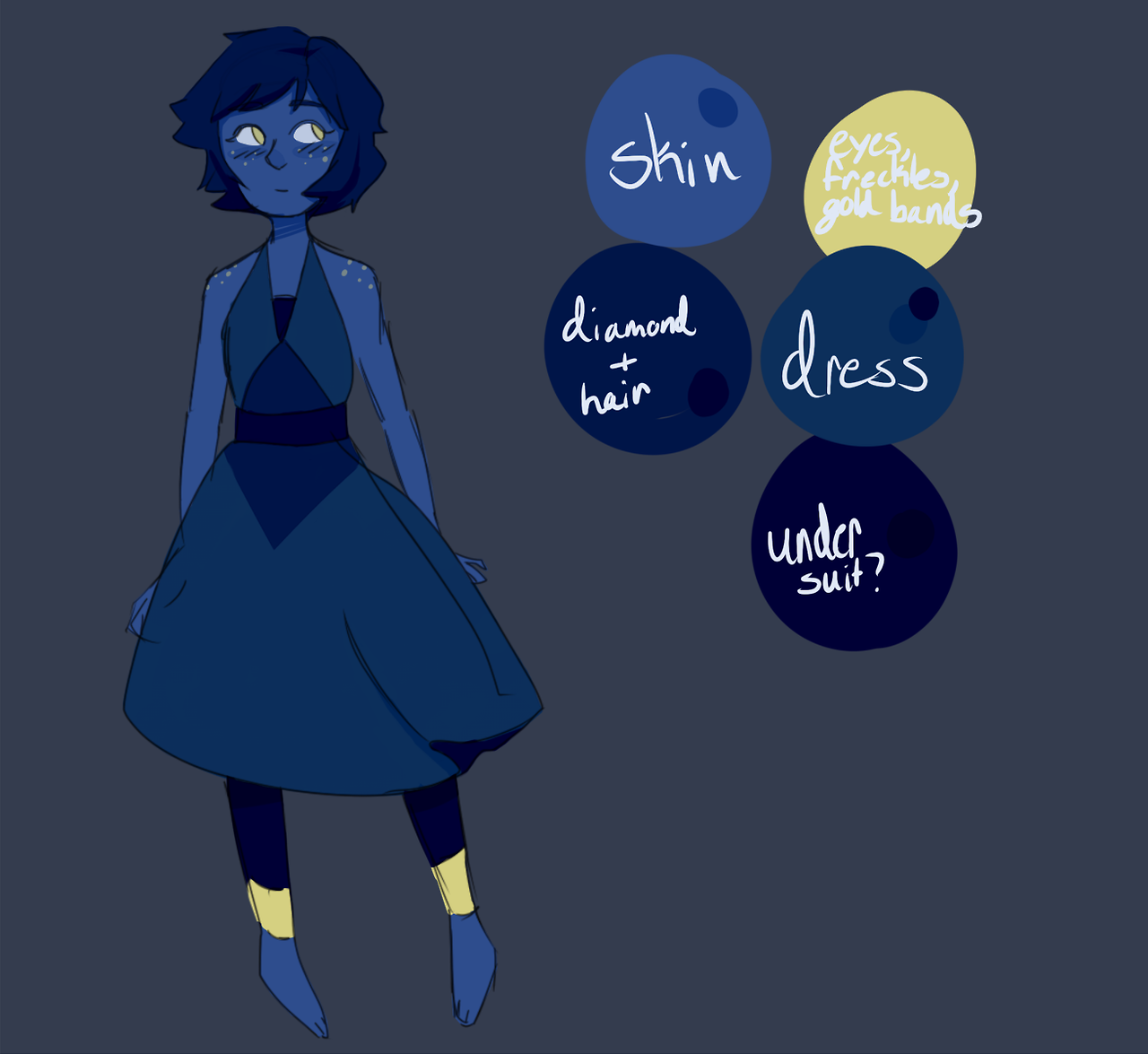 okay i know it looks really messy but i was feeling really really lazy SO yeah but ive seen lots of people making redesigns especially of lapis and i wanted to try making my own and i feel like it...
