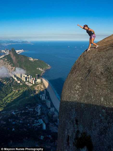 Flavia Kozlowsky pretending to jump off