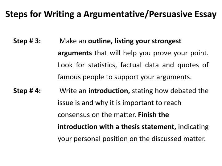 the steps of writing an argumentative essay