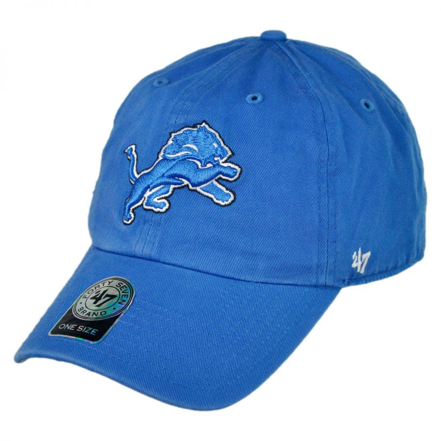 47 Brand Detroit Lions NFL Clean Up Strapback Baseball Cap NFL Football Caps