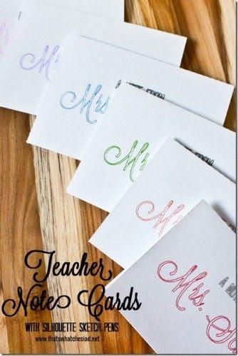 Sketch pen, Silhouette, project idea, teacher, note card