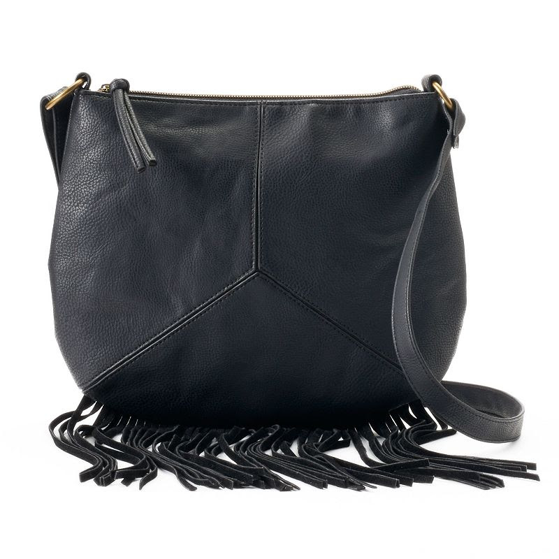 T-Shirt & Jeans Pieced Fringe Crossbody Bag, Women's, Black