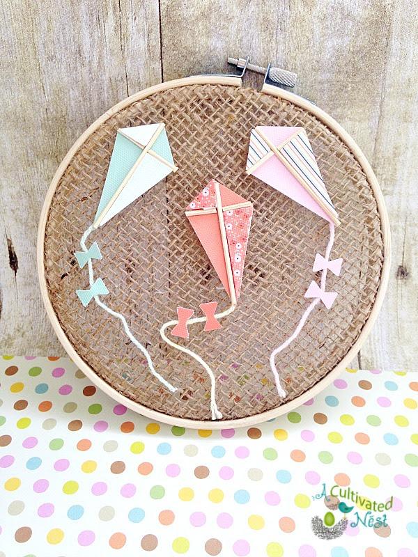 Easy & Inexpensive Spring Craft - Kite Hoop Art