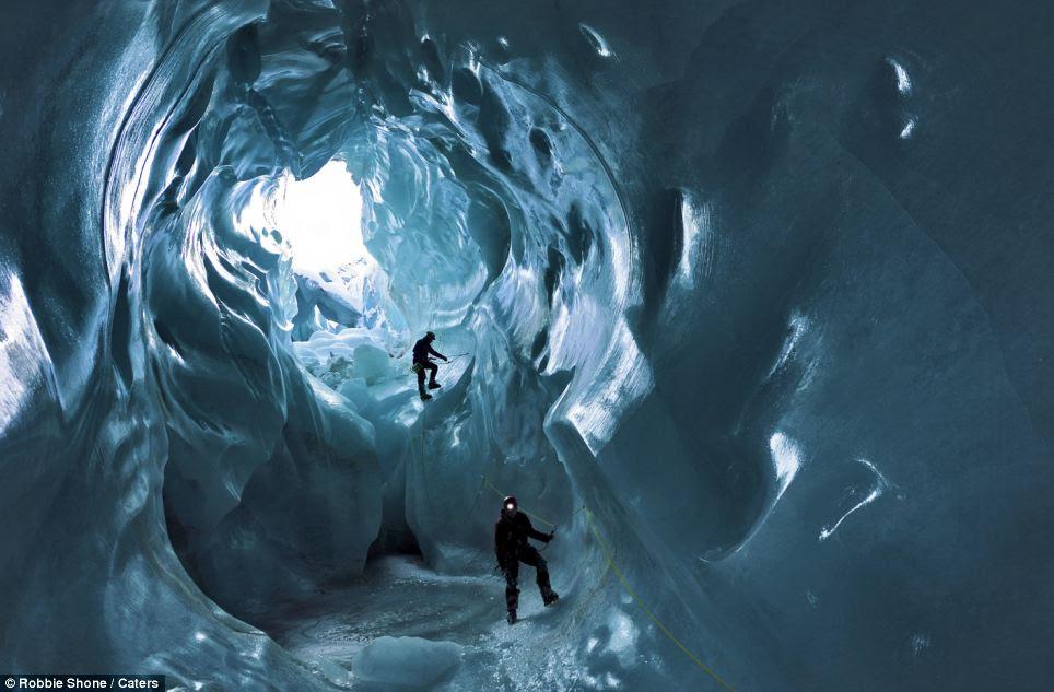 A team of eight climbed down the moulins - vertical shafts - in the Gorner Glacier near Zermatt in Switzerland
