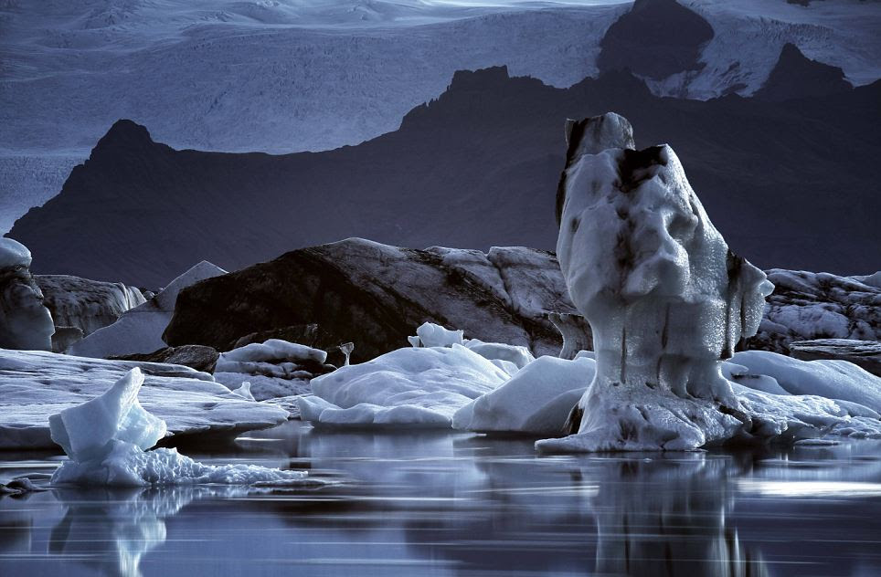 Melting: A mix of still ice and moving ice is captured as the glaciers begin to melt creating a haunting effect