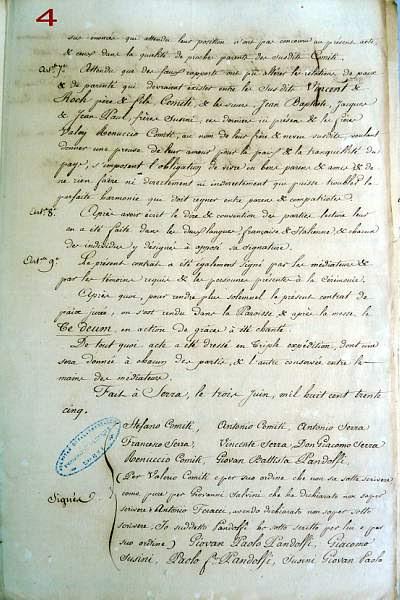 Traité de paix en 1835 à Serra di Scopamène