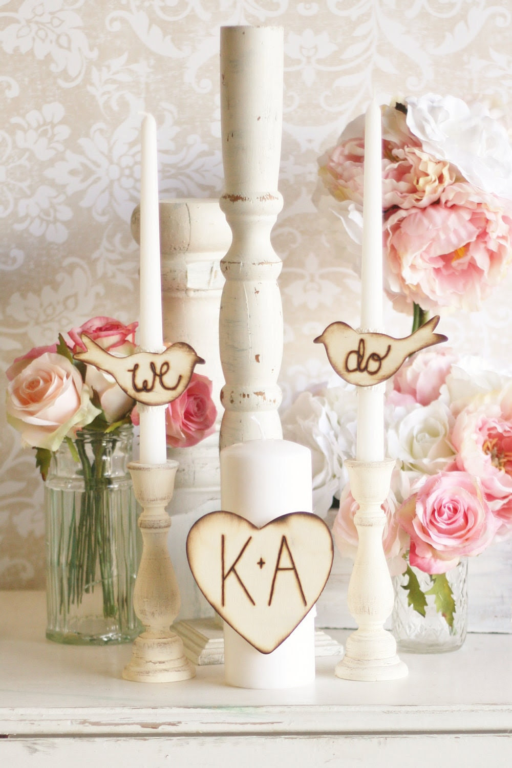 Unity Candle Set With We Do Love Birds And A Personalized Wood Heart Rustic Chic Wedding Decor By Morgann Hill Designs