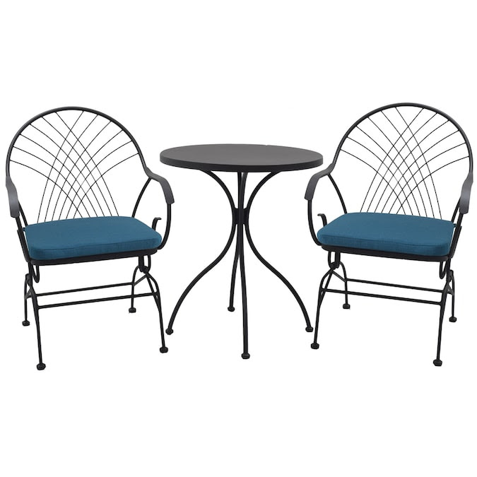 Style Selections Weddington 3 Piece Brown Frame Bistro Patio Set With Blue Cushions Bistro In The Patio Dining Sets Department At Lowes Com