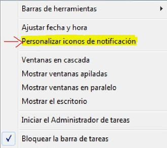 Personalizar iconos de notificaión windows 7 y vista  audio, red, y más