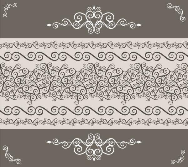 Vintage Floral Frame Vector Backgrounds Set 04 Free Download