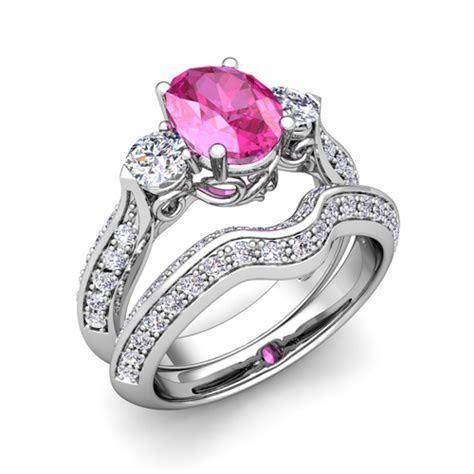 Vintage Diamond Pink Sapphire 3 Stone Ring Bridal Set 14k